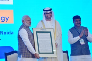 "India's PM Narendra Modi presents ADNOC Group CEO with ""International Lifetime Achievement Award"" at Petrotech 2019"