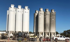 Fig. 5. The group of sand silos on the left had been working with Evolution on their electric fleet, while the silos on the right had been working on a conventional diesel wellsite.