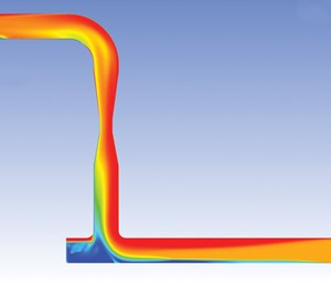 Fig. 2. CFD model showing gas volumes through pipe.