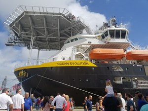 Oceaneering's advanced vessel christened before industry crowd