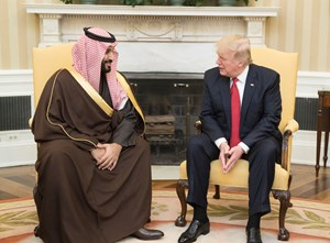 President Donald Trump speaks with Mohammed bin Salman bin Abdulaziz Al Saud, Crown Prince of Saudi Arabia, during a meeting Sunday, March 18, 2018, in the Oval Office.