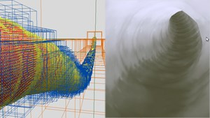 Exterior and interior well hole renderings by drilling simulator system software. | Image: Eduardo Gildin
