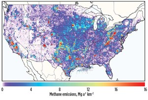 Fig. 2. Gridded EPA inventory for 2012: Includes all methane emissions from the National Greenhouse Gas Inventory. Source: U.S. Environmental Protection Agency, 2012.