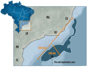 Fig. 1. Current geological models define the pre-salt as an 800-km by 200-km area that extends from mid-south Brazil to mid-north southeastern Brazil. Map: Petrobras.