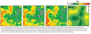 Fig. 4. Average Meramec A porosity map from ranked ResPack HD effective porosity scenarios (p10, p50, p90) and a density-porosity map interpolated from independent well data over the Meramec A intervals, c. 40-50 ft in thickness.