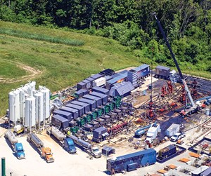 Fig. 3. An Evolution Well Services' all-electric frac spread at work on a CNX pad. Image: CNX Resources Corp.