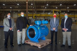 US manufacturer of ball valves GWC Italia has joined forces with Marshall Rodeno to strengthen its national reach in the US, targeting the Northern and Southern Rockies. Pictured at the GWC manufacturing facility in Bakersfield, California are (left to right) Ron Patron (Marshall Rodeno), Ken Hitron (Marshall Rodeno), Marc Thurmond (GWC), and Matt Hayden (Marshall Rodeno).