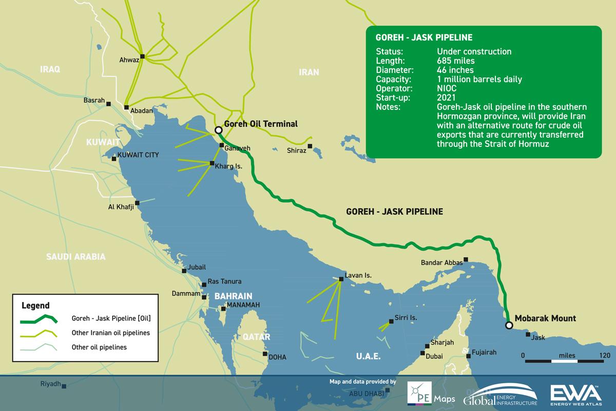 Irán prepara una nueva terminal de exportación de petróleo más allá del Estrecho de Ormuz