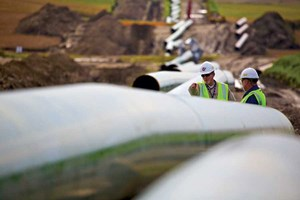 Keystone XL pipeline, during the construction phase