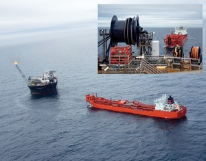 Fig. 1. A supply ship takes up cable from a production platform during the decommissioning process.