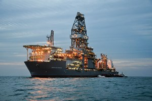 Fig. 3. The Deepwater Proteus is the latest ultra-deepwater drillship addition to Transocean's fleet, commencing work this spring on a 10-year contract. The Deepwater Proteus is a sister rig to the Deepwater Thalassa.