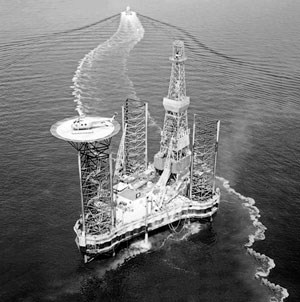 Fig. 1. In 1964, Chevron's JV operator Amoseas (American Overseas Petroleum Ltd.) drilled the first North Sea well, 165 mi offshore the UK. The well broke new ground in offshore operations, proving the capability of drilling year-round in the North Sea's harsh environment.