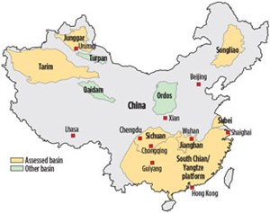 Fig. 5. Chinese basins evaluated during the 2013 shale assessment. Source: U.S. Energy Information Administration.