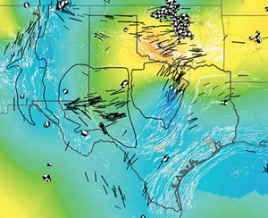 Fig. 1. Stress map of Texas, showing maximum horizontal stress (SHmax) orientations and faulting regime, categorized using the Aφ system of Simpson [1997] (see text for details). Basin boundaries are from the U.S. Energy Information Administration. The Rio Grande Rift boundary was compiled from Seager and Morgan [1979] and Perry et al. [1987]. Source: State of stress in Texas: Implications for induced seismicity, Jens-Erik Lund Snee and Mark D. Zoback, Department of Geophysics, Stanford University, Stanford, Calif., 2016.