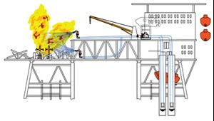 Fig. 3. View looking northwest: fire monitor rig-up. Monitors are fed by pumps,  which, in turn, are fed by seawater supply.