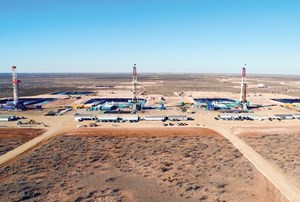 Fig. 4. Encana's four-rig RAB Davidson pad, the largest multi-well pad in the Permian basin. Image: Encana Corp.