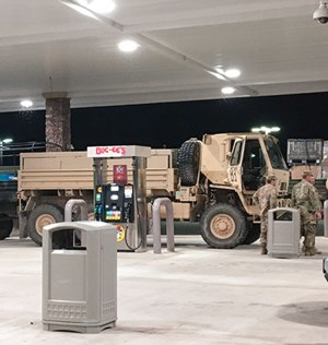 National guard troops fuel up their trucks before entering gasoline-starved Houston and Beaumont on Aug. 30. Photo: Kurt Abraham, Editor.