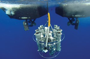 Fig. 6. Rosette array tests the water column to 10,000 ft for signs of hydrocarbons. Source: CSA Ocean Sciences Inc.