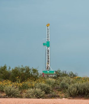 Fig. 4. To triple its production rate and reach 600,000 bopd by 2025, XTO will boost its horizontal rig count 65% over the next few years. Photo: XTO Energy.