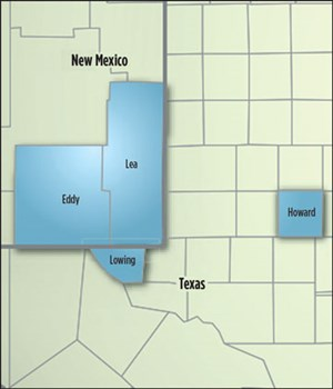 Fig. 5. Matador Resources was the high bidder in September's BLM auction of Permian acreage in New Mexico, spending $387 million on 8,400 net acres in the Delaware basin. Map: Matador Resources.